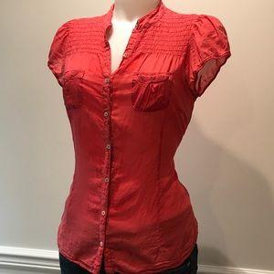 Zara Tops - Sweet Zara red button up light cotton blouse